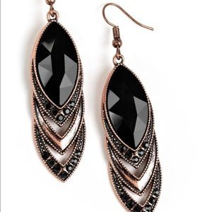 Copper and black stone earrings